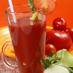 Tomato Juice with Celery in Bottles