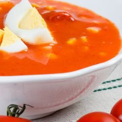 Cold Tomato Soup with Boiled Eggs