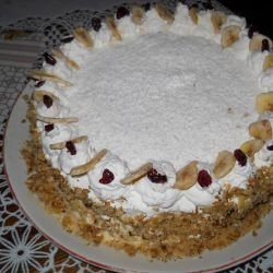 Cake with Cream and Dried Fruits