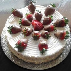 Biscotti Cake with Strawberries and Cream