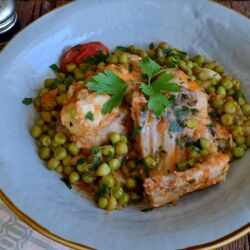 Rabbit Meat with Peas and Tomatoes