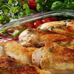 Marinated Chicken in a Glass Cook Pot