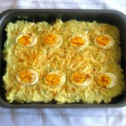 Casserole with Mince, Mashed Potatoes and Eggs