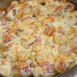 Casserole with Potatoes, Bacon and Feta Cheese