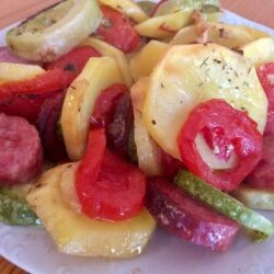 Oven-Baked Vegetabled with Sausage