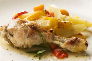chicken with honey potatoes