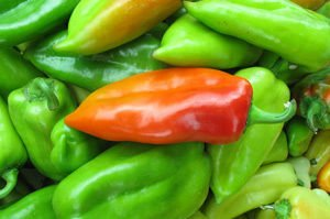 red pepper in green peppers