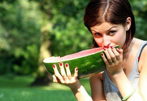 Watermellon eating girl