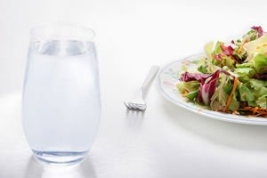 Water and salad
